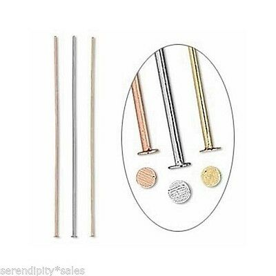 2 inch 24 gauge HEADPIN MIX 3 colors Silver Gold Copper 144 Pins Tri-Color 48 ea