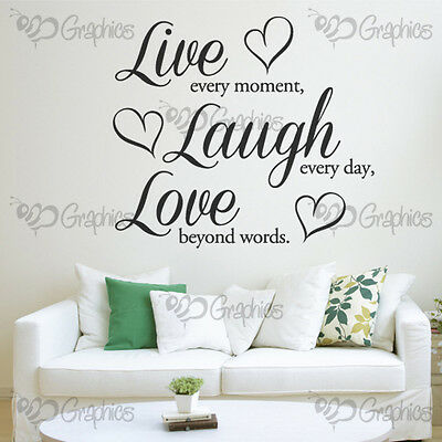 LIVE LAUGH LOVE Wall Art Quote Heart Sticker Vinyl Decal Home MULTIPLE COLOURS