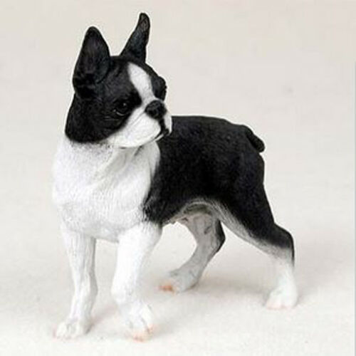 BOSTON TERRIER  DOG Figurine Statue Hand Painted Resin Gift Pet Lovers
