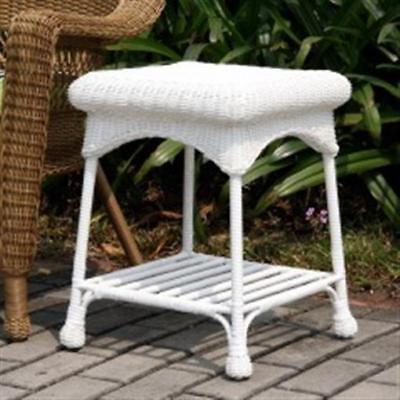 Wicker End Table (Wicker Lane OTI001-B Outdoor White Wicker Patio Furniture End Table )