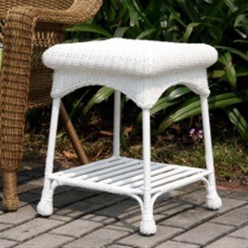 Wicker Lane Oti001 B Outdoor White Wicker Patio Furniture End Table