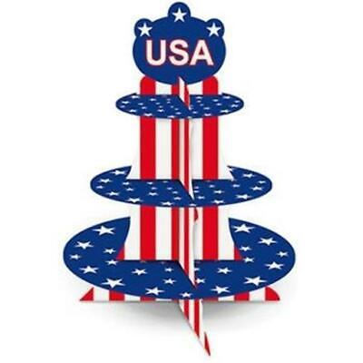 Patriotic USA Cupcake Stand 4th of July Party Supplies Decorations](Fourth Of July Party Supplies)