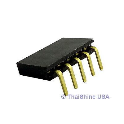 10 pcs 5 Pin 2.54 mm Single Row Ringht Angle Female Pin Header - USA Seller