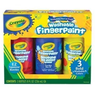 Crayola Washable Finger Paint Primary 8oz 3 Color Set Non-toxic Kid's Crafts