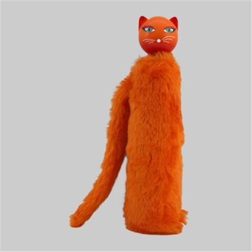 Pylones of Paris Chapka Orange Cat Telescopic Umbrella Fuzzy Sleeve & Tail