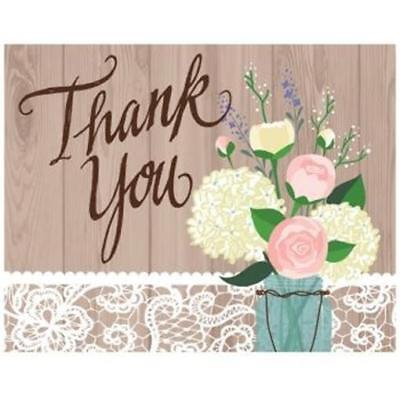 Rustic Wedding Fold over Thank You Cards 8 Pack Bridal Shower Decoration
