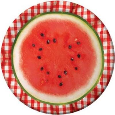 Watermelon Check 9 Inch Paper Plates 8 Pack Summer Birthday Party Decor](Watermelon Paper Plates)