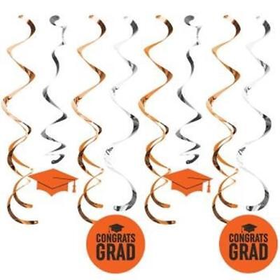 Graduation Deluxe Hanging Danglers Orange 8 Pack Grad Party - Orange Party Decorations