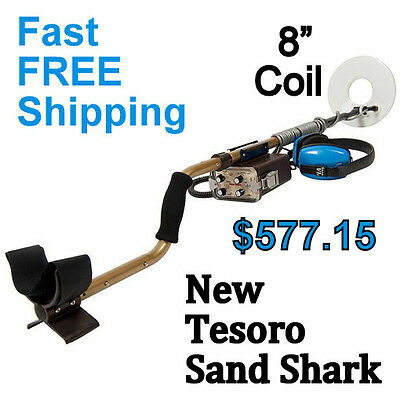 New Tesoro Sand Shark Waterproof Metal Detector With 8  Coil   Free Shipping