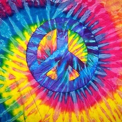 TIE DYE PEACE SIGN TEE SHIRT SZ MEDIUM mens womens hippie tye die swirl shirts (Tye Dye Peace Sign)