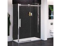 3 x Black Quartz Wall Shower Panels