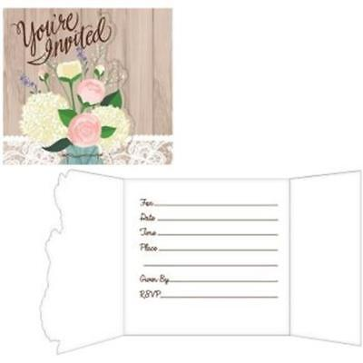 Rustic Wedding Fold over Invitations 8 Pack Bridal Shower Decoration