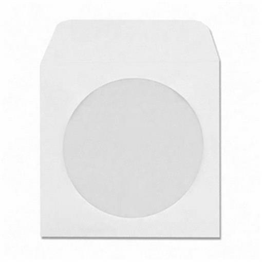 300 CD DVD R Disc White Paper Sleeve Window Flap Envelope