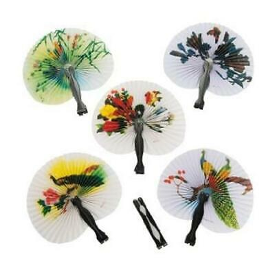(12) Mini Paper Oriental Folding Fan Chinese Hand Held Set Birthday Party - Hand Held Paper Fans