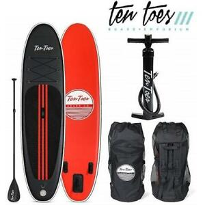NEW  INFLATABLE PADDLE BOARD 10' 2811 208629677 TEN TOES BOARDS WEEKENDER STAND UP PADDLE BOARD BUNDLE BLACK/RED