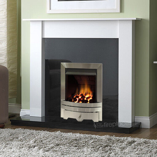Gas White Surround Black Granite Silver Modern Wall Chimney Fire