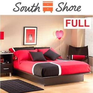 NEW SOUTH SHORE PLATFORM BED 3070234B 207960737 Step One Contemporary Bed Double/FULL BLACK