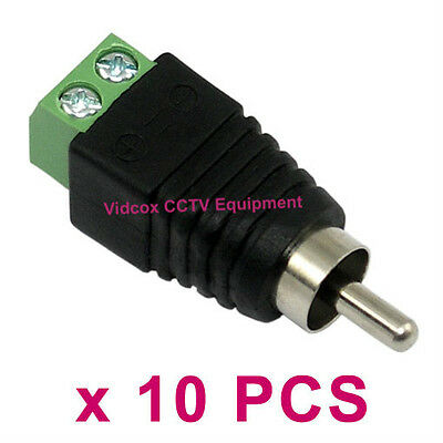 10pcs UTP RJ45 CAT5 CAT6 Cable to AV Phono Male RCA Connector Jack Plug for CCTV