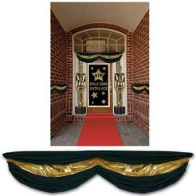 Black & Gold Fabric Bunting w/Adjustable Drawstrings Movie VIP Party Decoration - Black Bunting