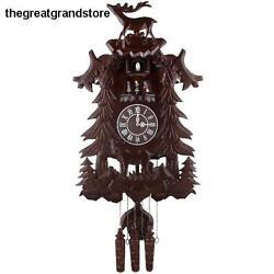 Vivid Large Deer Handcrafted Wood Cuckoo Clock w/ 4 Dancers Dancing w/ Music Top
