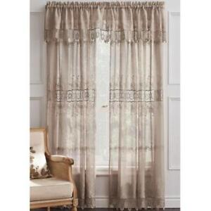 Sheer lace trimmed curtains, valances and double rods
