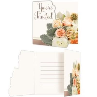 Rose Gold Bouquet Gatefold Invitations 8 Pack Bridal Shower Wedding Decoration