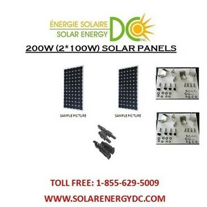 solar panel panneau solaire pv 200 w 2 100 w watt mono 12 volt chalet brackets ebay. Black Bedroom Furniture Sets. Home Design Ideas