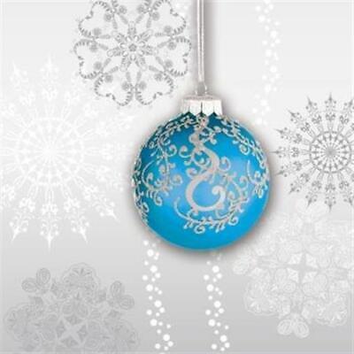 Jingle Bells Blue Bulb Beverage Napkins 18 Pack Christmas Winter Decoration (Blue Beverage Napkins)