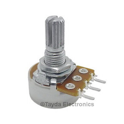 5 X 10k Ohm Logarithmic Taper Rotary Potentiometers - Usa Seller - Free Shipping