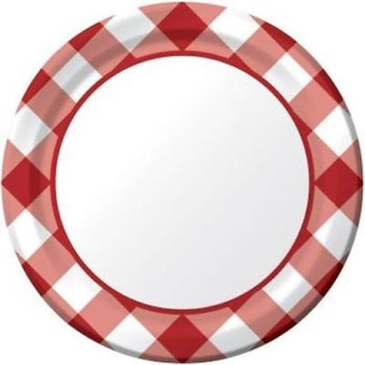 Gingham Galore 7 Inch Plates 8 Pack Summer BBQ Picnic Birthday Party Decoration (Bbq Party)