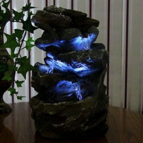 Indoor Water Fountain LED Light Tabletop Waterfall Zen Decor Table Small Rock