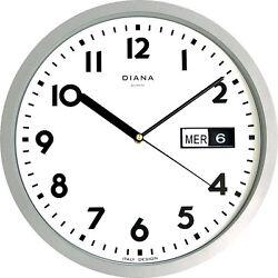WALL CLOCK DUVE 103639-S PLASTIC ROUND 32 CM DAY DATE QUARTZ SILVER