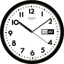 Wall Clock Duve 103639-N Plastic round CM.32 Day Date Quartz Black