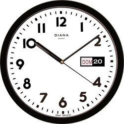 WALL CLOCK DUVE 103639-N PLASTIC ROUND 32 CM DAY DATE QUARTZ NOIR