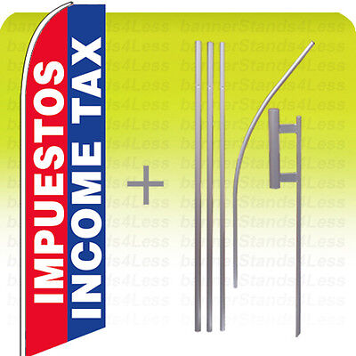 Impuestos Income Tax - Swooper Feather Flutter Sign Banner Tall Flag 15 Kit Bb