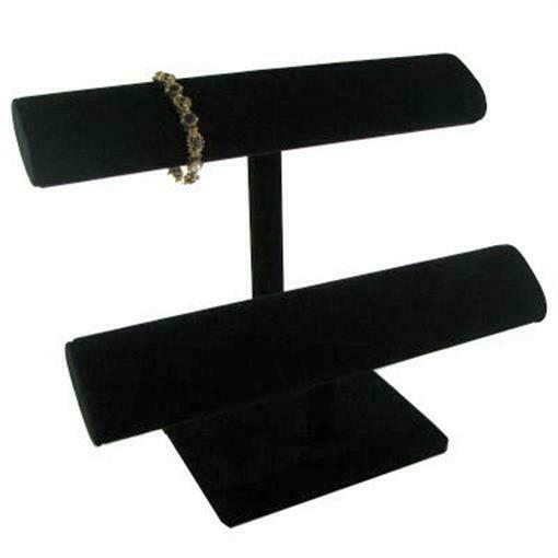 Oval Bracelet Display T-Bar - Wide Double Tier Stand / Black Velvet