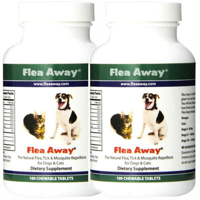 TWIN PACK 2x FLEA AWAY NATURAL FLEA TICK & MOSQUITO REPELLENT FOR DOGS & CATS