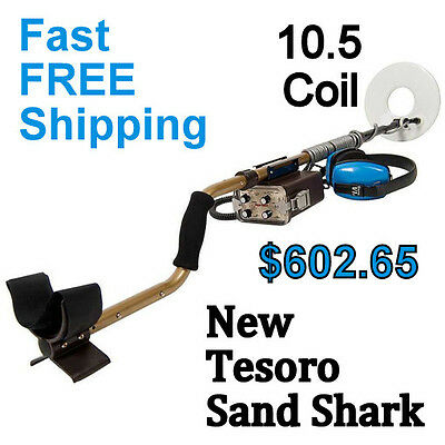 New Tesoro Sand Shark Waterproof Metal Detector With 10 5  Coil   Free Shipping