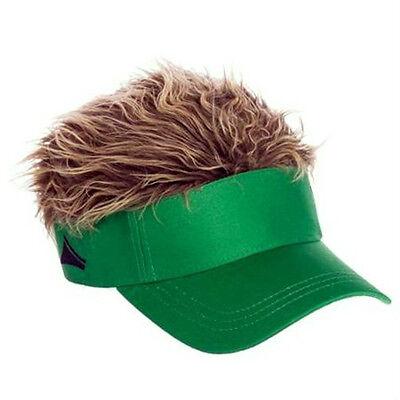 FLAIR HAIR HATS WITH HAIR GREEN VISOR BROWN HAIR QUALITY SURF SKATE SNOW - Golf Visor With Hair