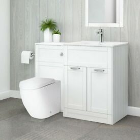 Better Bathrooms Nottingham White Bathroom Furniture 600 Vanity Unit & 500 WC Unit