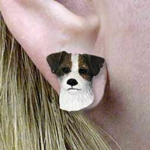 CLEARANCE Post Style JACK RUSSELL TERRIER Brown Dog Head Post Earrings Jewelry