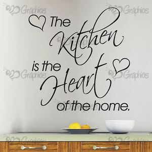 The Kitchen Is The Heart Of The Home Kitchen Wall Art Sticker Decal Quote Ebay
