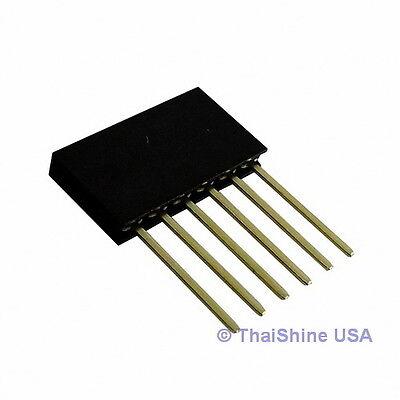 10 X Stackable Header 6 Pins 2.54mm - Usa Seller - Free Shipping