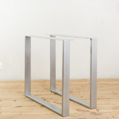 2 x HEAVY DUTY STEEL TABLE LEGS / POWDER COATED / RETRO METAL INDUSTRIAL DESIGN
