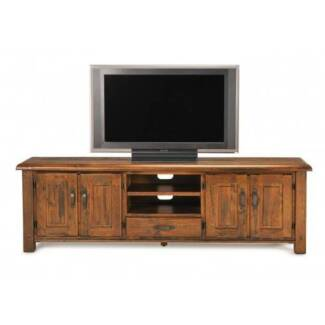 TV Entertainment Unit (4 door 1 draw) Solid Timber Rustic Sawn