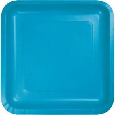 Turquoise Square Paper Plates 7-inch 18 Per