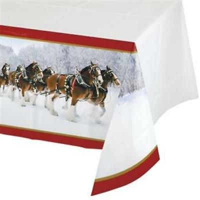 Clydesdales Plastic Banquet Tablecloth Winter Christmas Party Decoration - Christmas Plastic Tablecloths