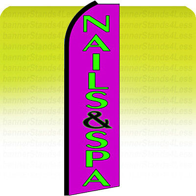 Nails Spa Swooper Flag Feather Flutter Banner Sign 11.5 Tall - Purple Q
