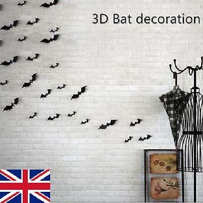 12Pcs 3D DIY Bat Wall Sticker Black Decal Home Party Decoration Halloween UK - Halloween Decorations Diy Uk