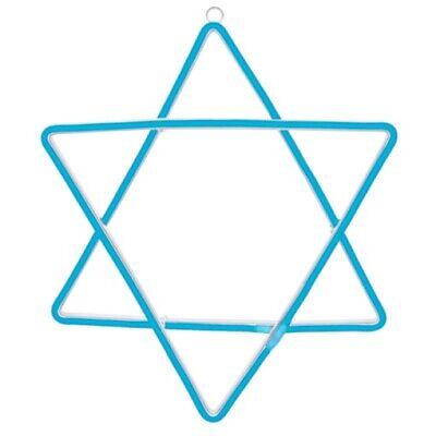 Hanukkah Star of David Neon LED Light Blue